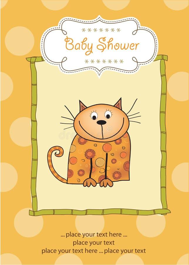 Nuova scheda di annuncio del bambino con il gattino illustrazione di stock