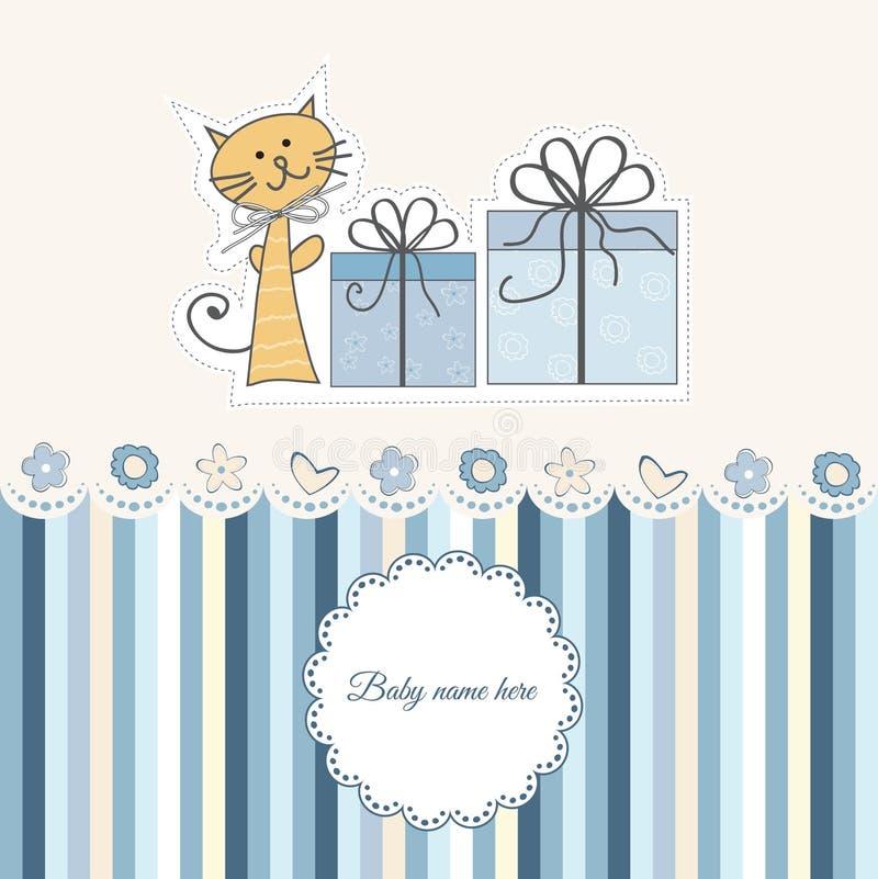 Nuova scheda di annuncio del neonato illustrazione di stock