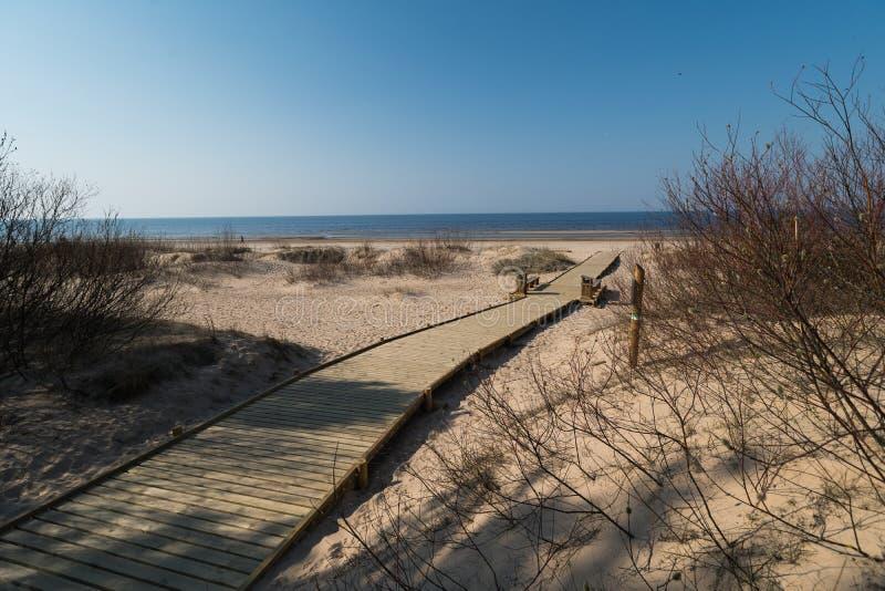 Nuova strada di legno che conduce dalla foresta della duna della spiaggia con i pini ed il bianco inviati al golfo del Mar Baltic fotografie stock