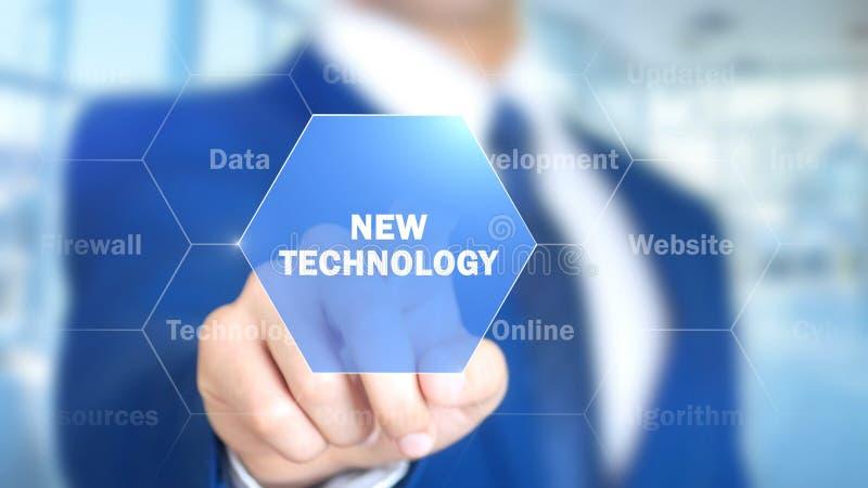 Nuova tecnologia, uomo che lavora all'interfaccia olografica, schermo visivo immagine stock