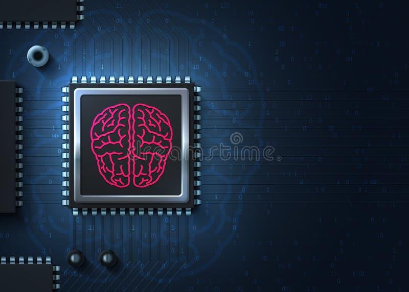 Nuova unità di elaborazione del CPU Realtà virtuale Mente cyber Illustrazione moderna Futuro di tecnologia di Cyberpunk illustrazione vettoriale