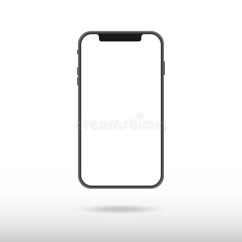 Nuova versione dello smartphone esile nero simile a iphon x con lo schermo bianco in bianco Illustrazione realistica di vettore illustrazione vettoriale