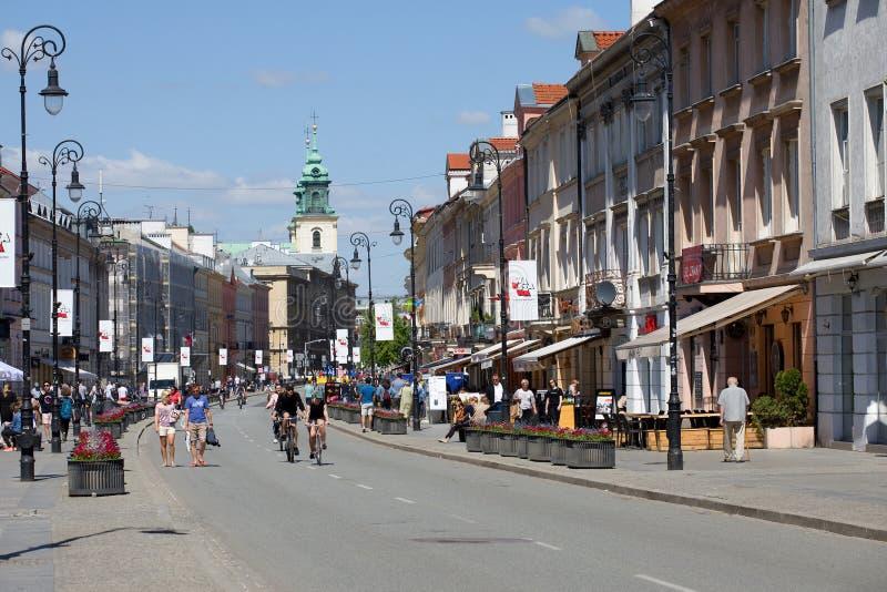 Nuova via del mondo a Varsavia fotografia stock libera da diritti