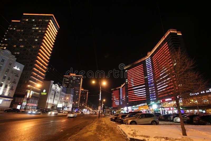 Nuova via di Arbat a Mosca di notte fotografia stock libera da diritti