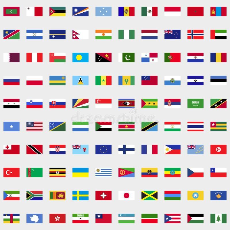 Nuove bandiere dell'insieme del mondo illustrazione di stock