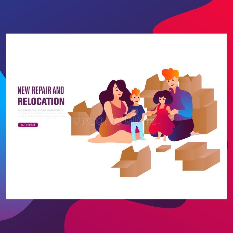 Nuove riparazione e rilocazione La coppia di amore nell'amore gode di nuovo appartamento fra le scatole illustrazione vettoriale