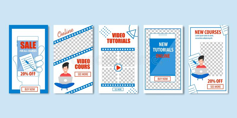 Nuove video esercitazioni online, nuova vendita di corsi illustrazione di stock
