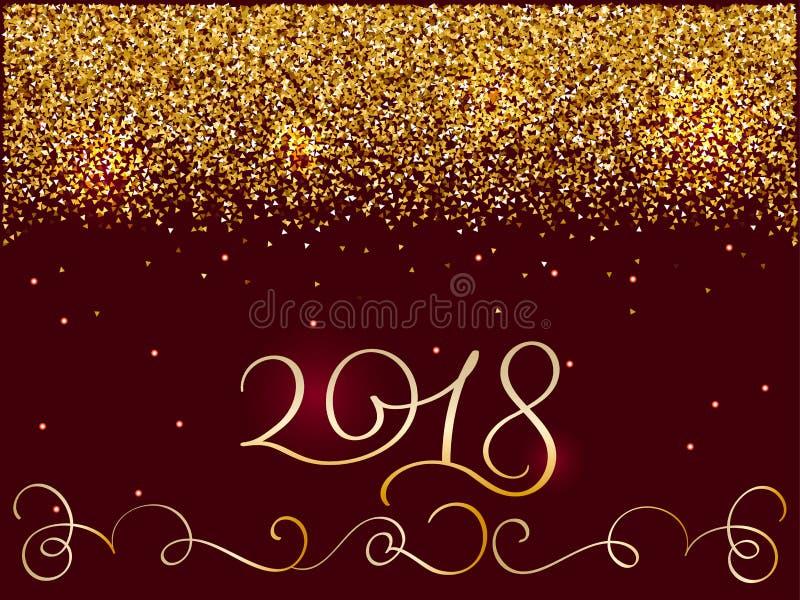 2018 nuovi anni Composizione brillante nell'iscrizione con le stelle e le scintille Illustrazione disegnata a mano di vettore di  illustrazione di stock