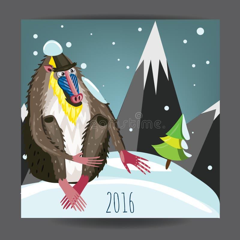 2016 nuovi anni della scimmia illustrazione di stock