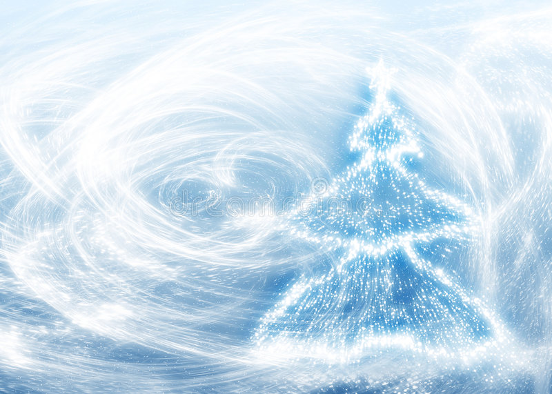 Nuovi anni di albero e bufera di neve royalty illustrazione gratis