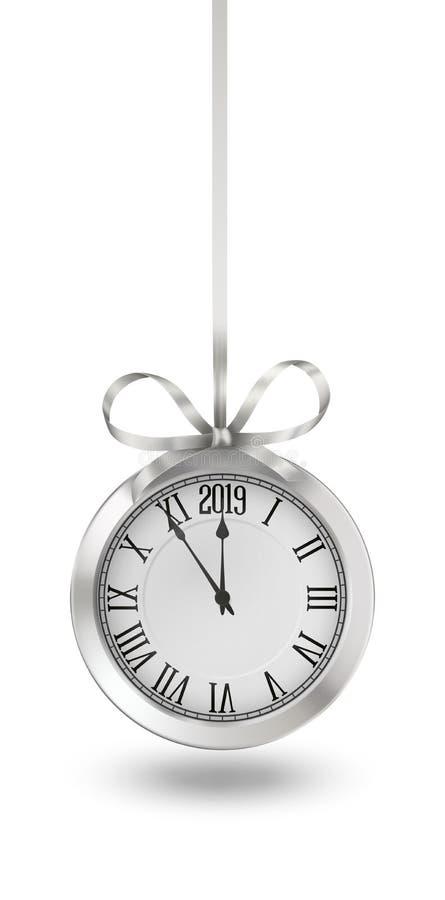 Nuovi anni di orologio royalty illustrazione gratis