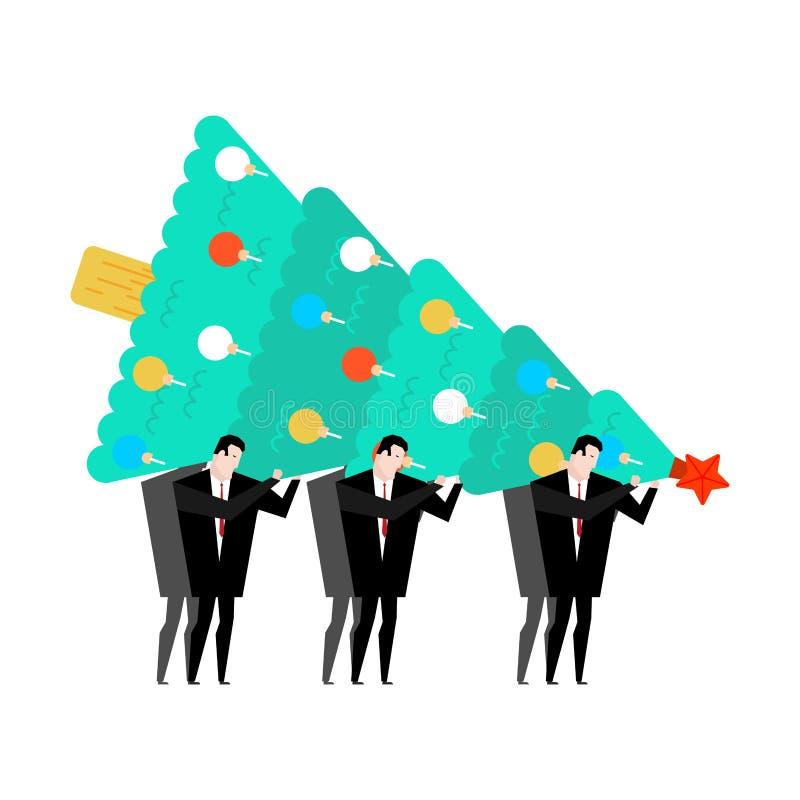 Nuovi anni di partito corporativo Albero di Natale della tenuta dell'uomo d'affari C illustrazione vettoriale
