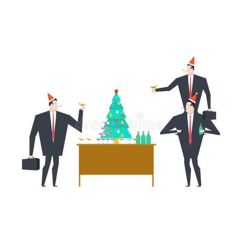 Nuovi anni di partito corporativo Natale in ufficio Illustrat di vettore illustrazione di stock