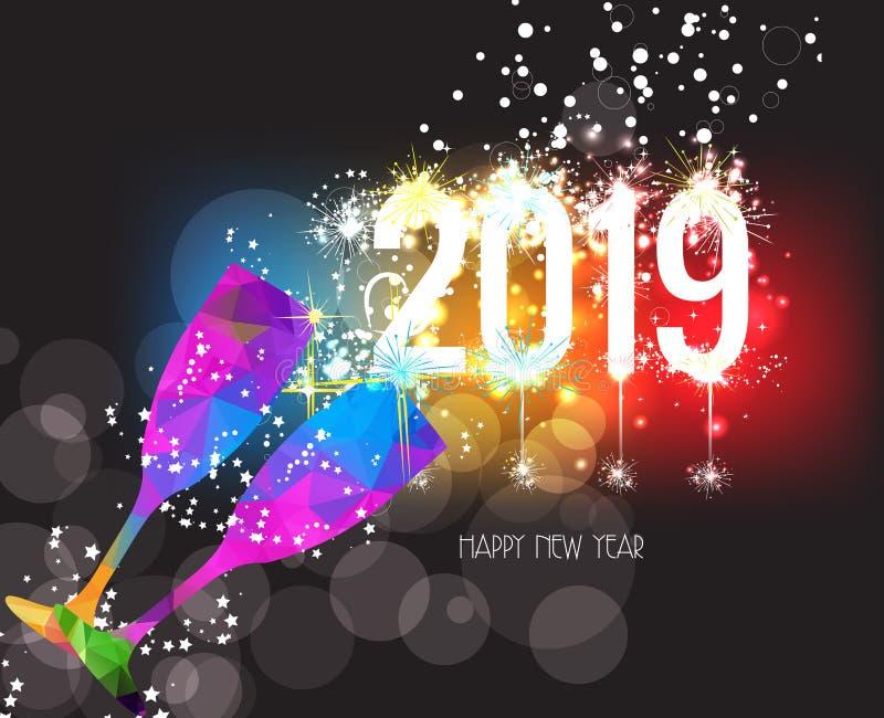 Nuovi anni 2019 di vetro del triangolo e fondo variopinti poligonali dei fuochi d'artificio illustrazione vettoriale