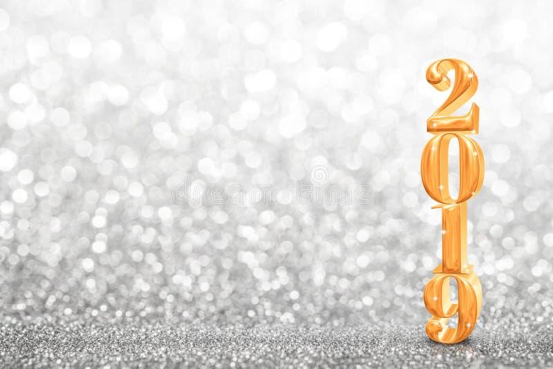 2019 nuovi anni dorati di rappresentazione di 3d a scintillare dell'estratto luminoso immagini stock