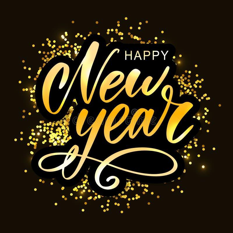 2020 nuovi anni felice Illustrazione di vettore di festa con la composizione nell'iscrizione e l'etichetta festiva d'annata di sc royalty illustrazione gratis