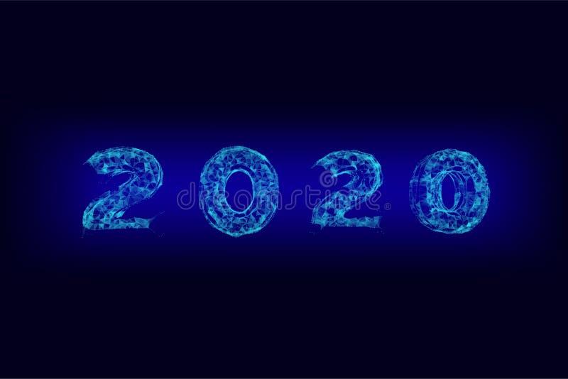 Nuovi anni 2020 linee della forma, wireframe, triangoli e progettazione di stile della particella Illustrazione del nuovo anno fa royalty illustrazione gratis