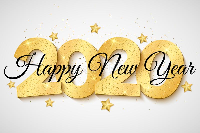 2020 nuovi anni Stelle dorate sparse Scintilli dorati su un fondo leggero numeri 3D e calligrafia Illustrazione di vettore illustrazione vettoriale
