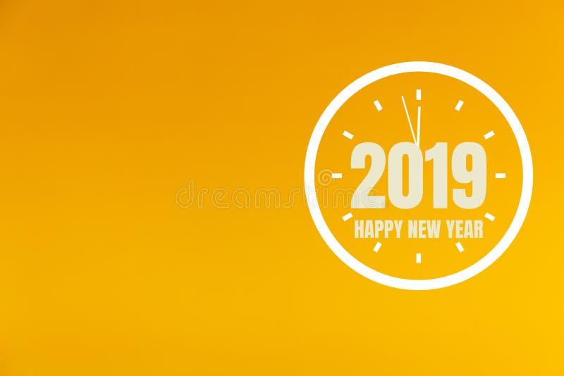 2019 nuovi anni su fondo arancio immagini stock libere da diritti