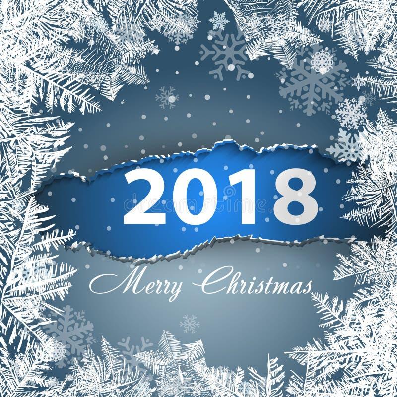 2018 nuovi anni su fondo glassato ghiaccio Colori globali illustrazione di stock