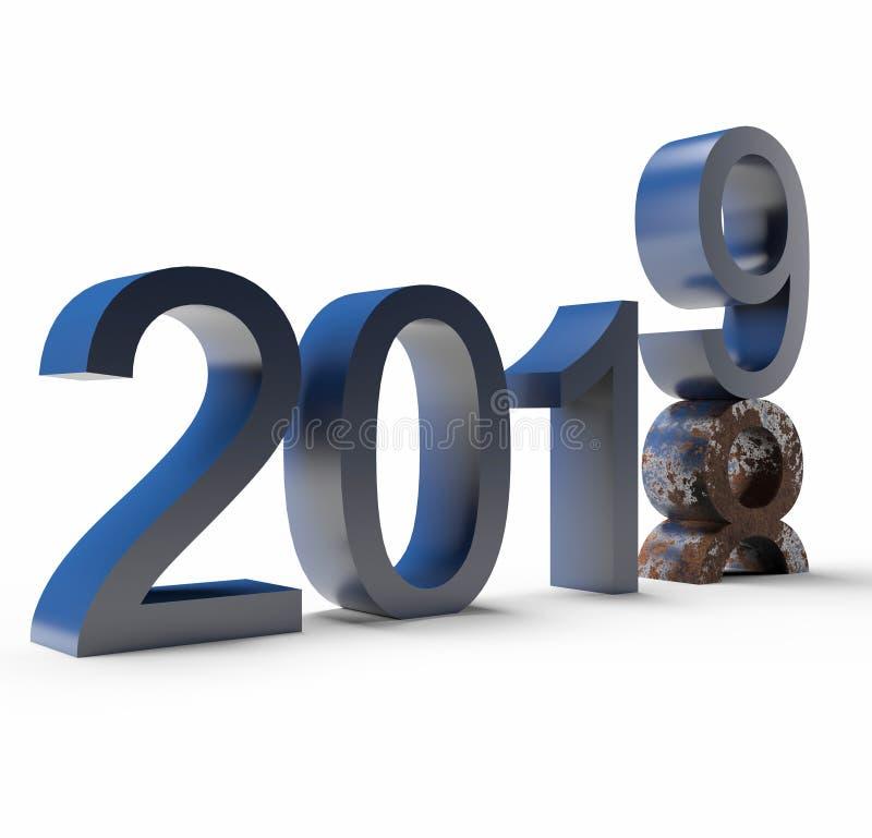 2019 nuovi anni sui precedenti illustrazione vettoriale