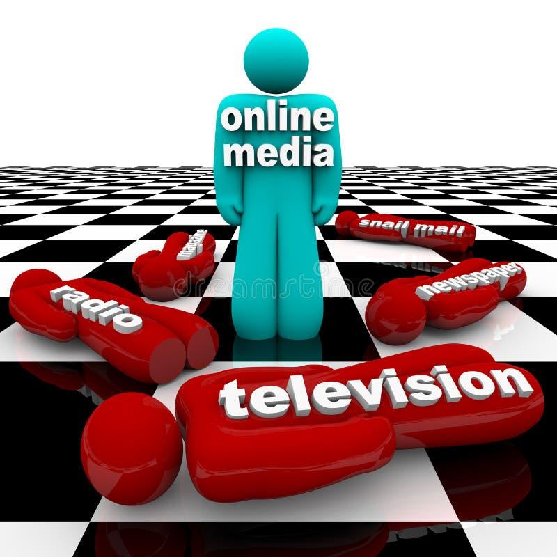 Nuovi media contro i media vecchi - la battaglia è vinta illustrazione di stock