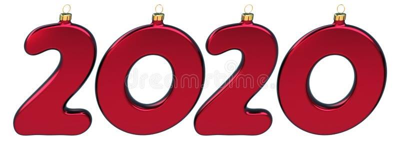 Nuovi 2020 Venti numeri di Natale in rosso lucido illustrazione vettoriale
