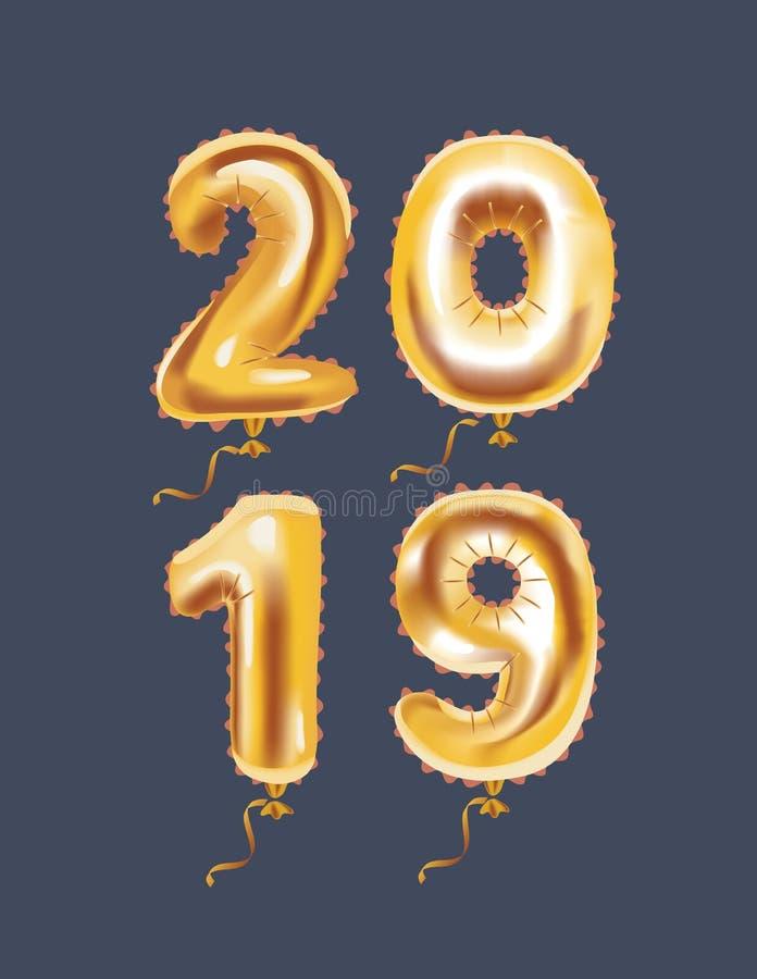 Nuovo 2019 anni felice! illustrazione vettoriale