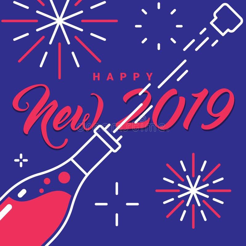 Nuovo 2019 anni felice Champagne Bottle Fireworks Greetings Card illustrazione vettoriale