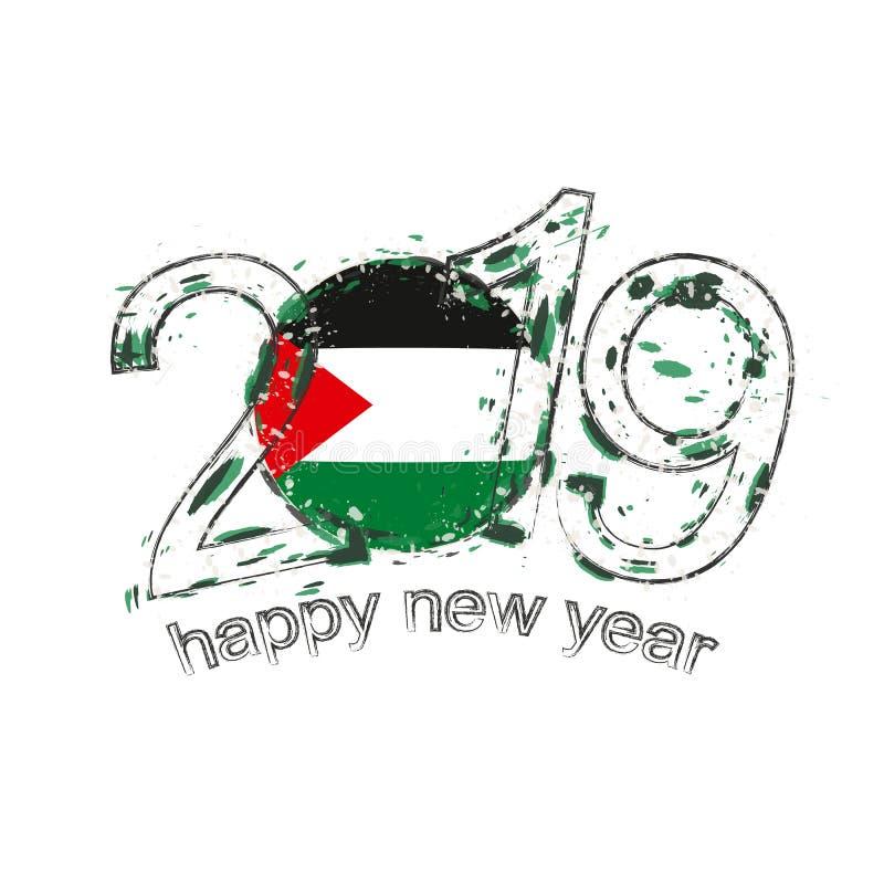 Nuovo 2019 anni felice con la bandiera della Palestina Vecto di lerciume di festa illustrazione vettoriale