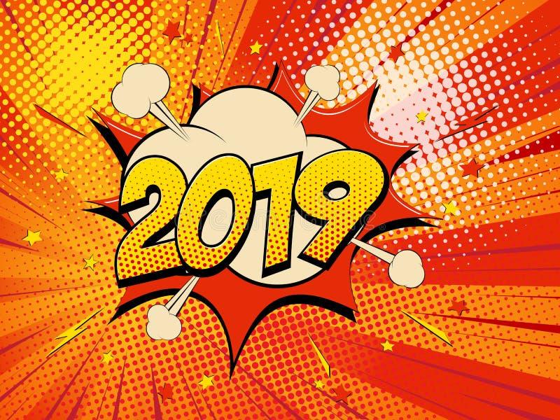 Nuovo anno 2019 15 illustrazione vettoriale