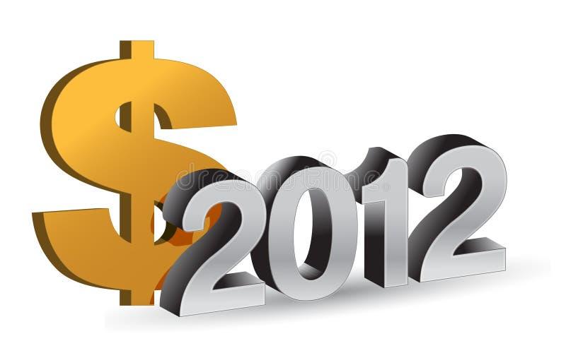NUOVO ANNO 2012 e segno del dollaro illustrazione vettoriale