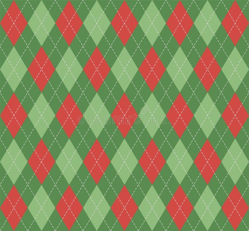 Nuovo anno Argyle di Natale Gabbia dello Scottish del modello illustrazione di stock