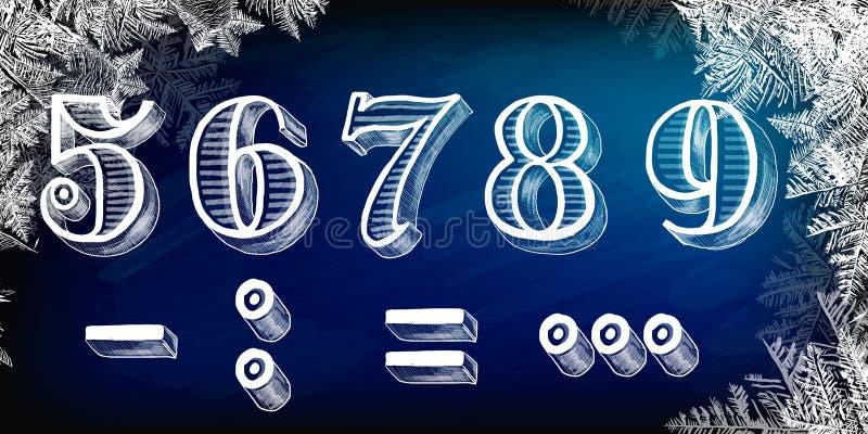 Nuovo anno, 2019, bordo di gesso, Natale disegnato a mano 2019, fiocchi di neve, Natale etichetta e buon anno, vettore 2018 nuovi illustrazione di stock