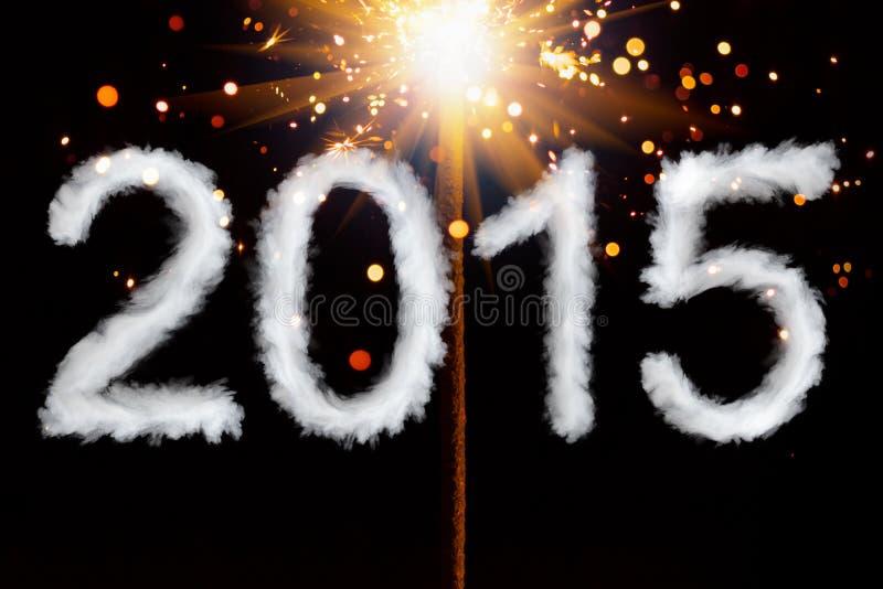 Nuovo anno 2015, cifre di stile del fumo fotografie stock libere da diritti