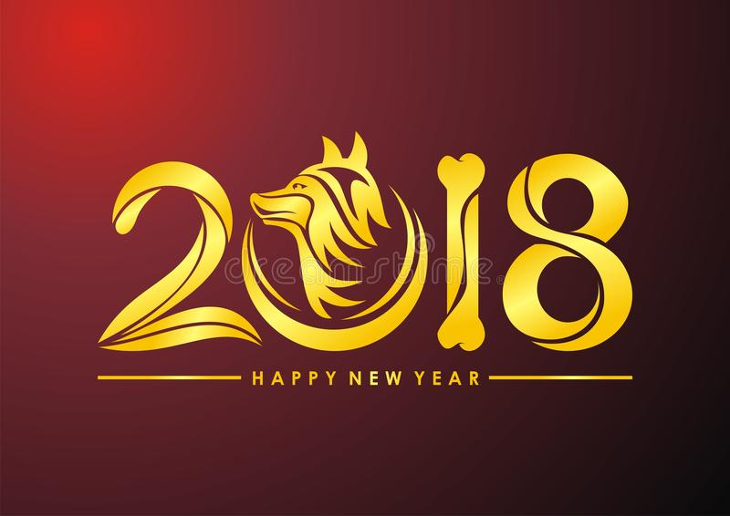 Nuovo anno cinese del testo del cane 2018 royalty illustrazione gratis