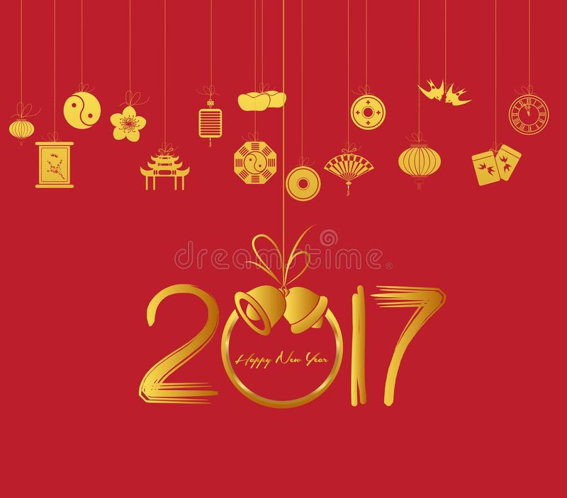 Nuovo anno cinese felice orientale 2017 illustrazione vettoriale