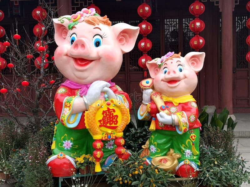 Nuovo anno cinese l'anno del maiale promettente fotografia stock libera da diritti