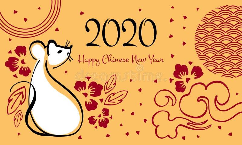 Nuovo anno cinese 2020 L'anno del topo o del ratto Illustrazione di vettore con il topo di seduta, il saluto ed i fiori decorativ illustrazione vettoriale