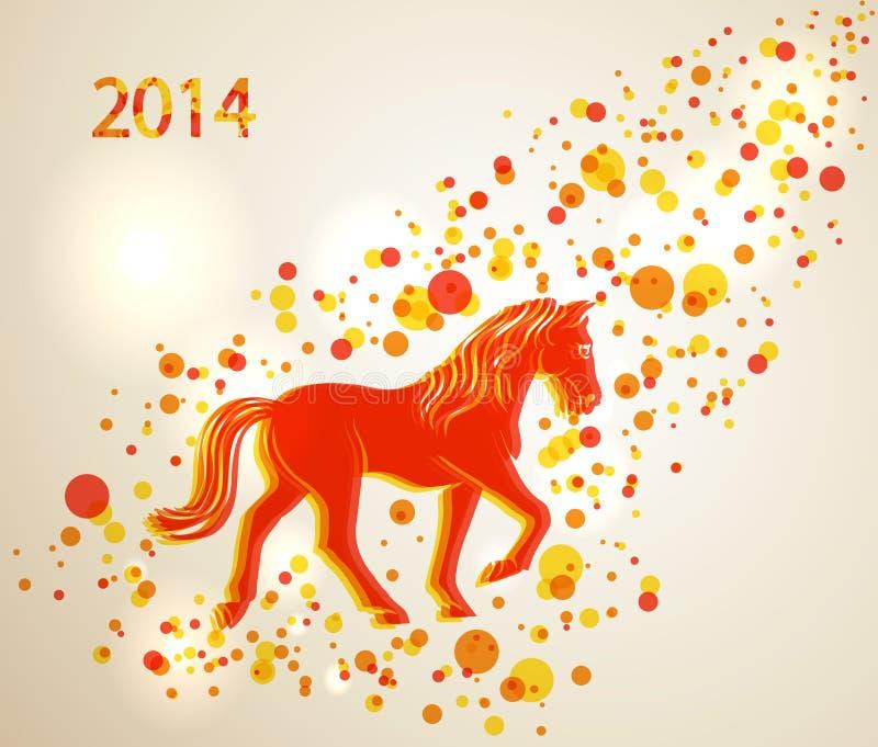 Nuovo anno cinese multicolore di fondo 2014 del cavallo illustrazione di stock