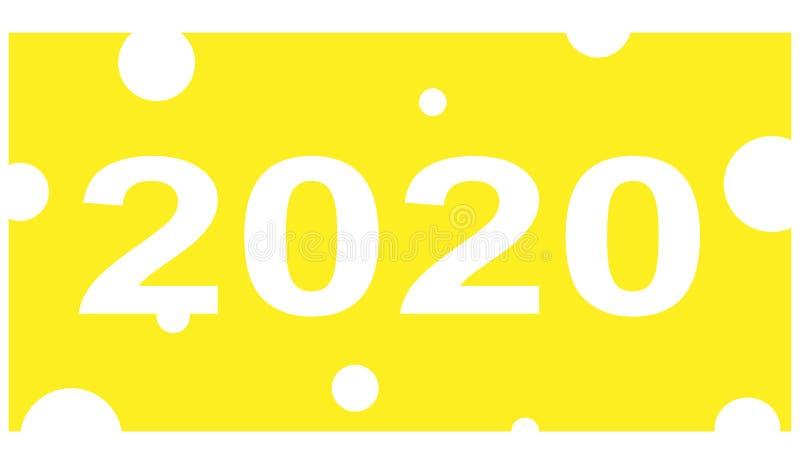 Nuovo anno cinese 2020 Una fetta sottile di fetta appetitosa gialla del formaggio con i fori ed i numeri diretti di venti mila su illustrazione vettoriale