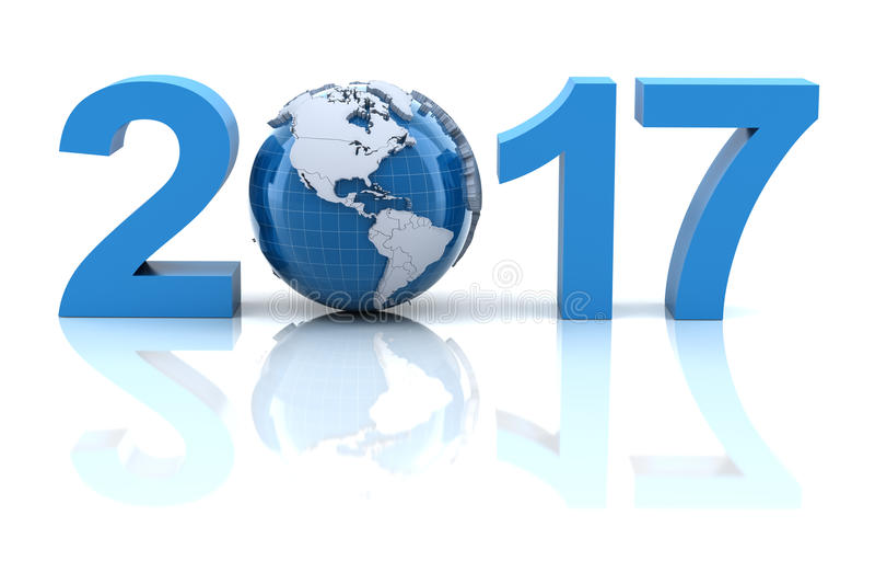 Nuovo anno 2017 con il globo illustrazione vettoriale