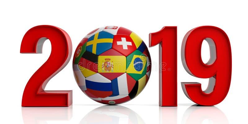 Nuovo anno 2019 con la palla di calcio di calcio delle bandiere isolata su fondo bianco illustrazione 3D illustrazione di stock