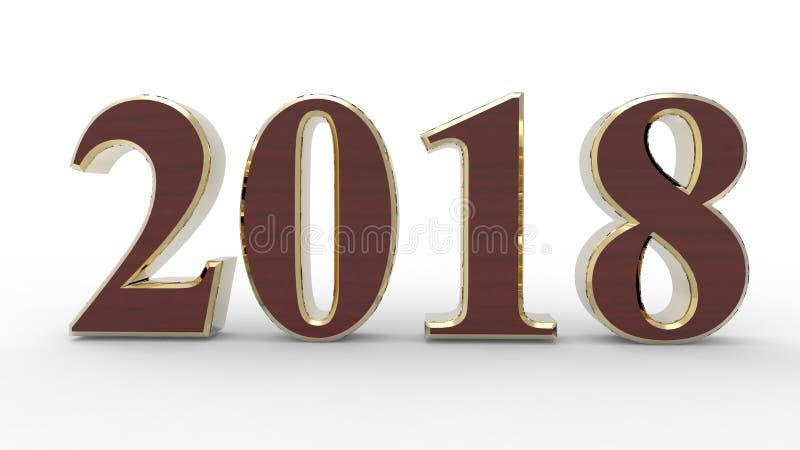 Nuovo anno 2018 3d royalty illustrazione gratis
