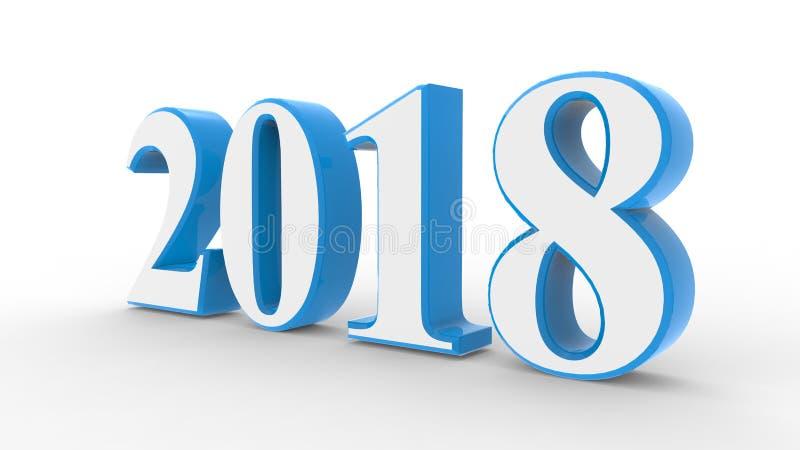 Nuovo anno 2018 3d illustrazione di stock