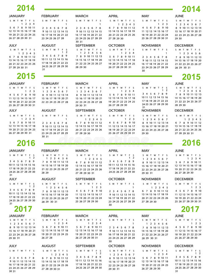 Nuovo anno del calendario   2014 2015 2016 2017 illustrazione vettoriale