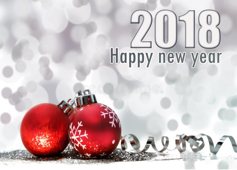 Nuovo anno 2018 della cartolina d'auguri fotografia stock libera da diritti