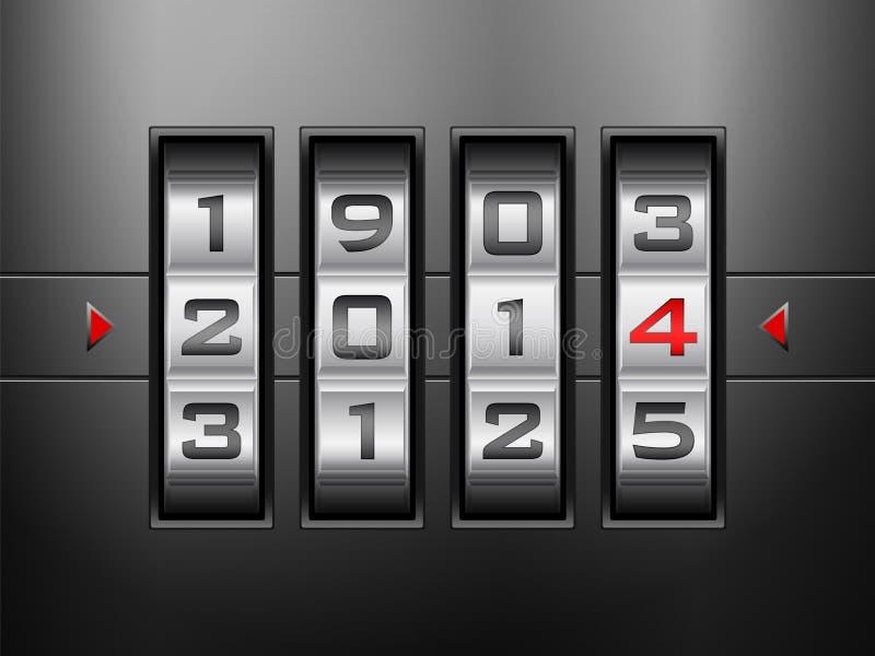 Nuovo anno della serratura a combinazione illustrazione di stock