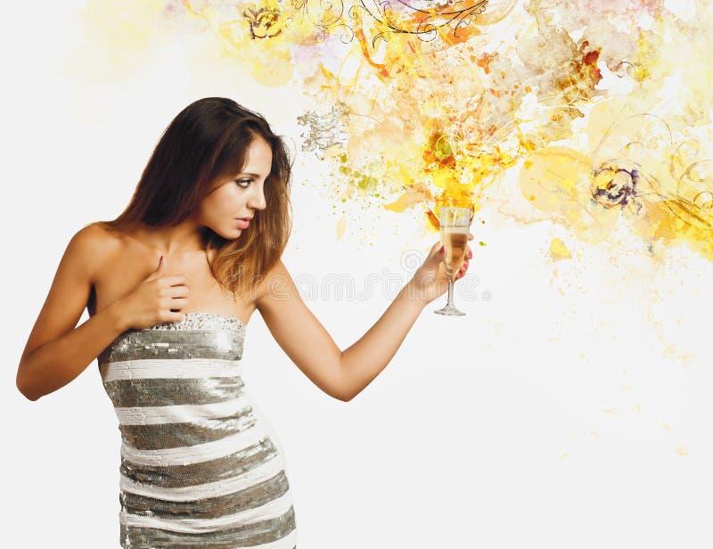 Nuovo anno di esplosione di Champagne fotografia stock
