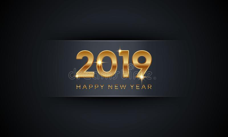 Nuovo anno 2019 di PrintHappy Illustrazione astratta di lusso creativa di vettore con i numeri dorati su fondo scuro illustrazione di stock